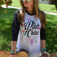 Wild Child Baseball Tee Raglan