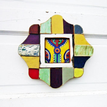 Reclaimed Wood Mosaic Art, Framed Navajo Tile,  Rustic Home Decor, Salvaged Wood and Tile Art, Wood Wall Decor, Rustic Wall Art