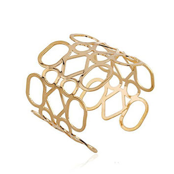 18K Gold Statement Punk Fashion Metal Opening Hollow 0ut Cuff Bangle Bracelets For Women Men B111