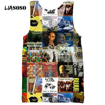 LIASOSO T Shirt Men's Women Vest 3D Tank Sleeveless print Bob Marley slim fit  Hip Hop Men/boy Fashion tees tops tshirt D553