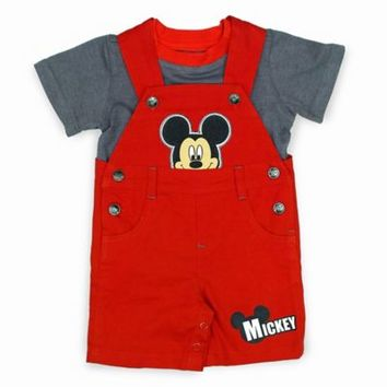 Disney® Mickey Mouse 2-Piece T-Shirt and Denim Shortall Set in Grey/Red