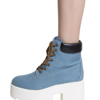 PLATFORM DENIM WORK BOOTS