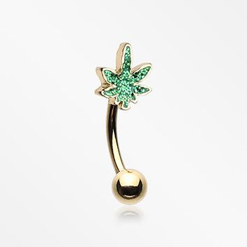 Golden Glitter Sparkle Cannabis Curved Barbell