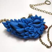 Baby Bluebird Necklace - OOAK Polymer Clay Bird