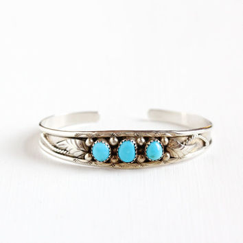 Vintage Sterling Silver Turquoise Cuff Bracelet - Retro 1960s Leaf Studded Rope Blue Native American Style Southwestern Boho Tribal Jewelry