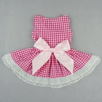Fitwarm Casual Pink Plaid Ribbon Pet Clothes Dog Dress Lace Shirts Apparel, X-small