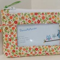 ID Wallet, Coin Purse, Zipper Closure, Made With cute floral Fabric