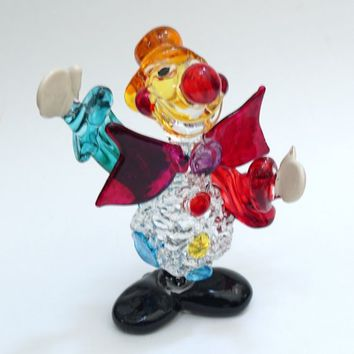 Glass clown, Blown Glass,  Collector Display, Knick Knacks, Murano Style