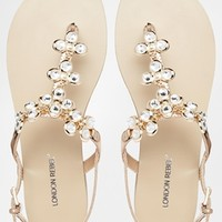 London Rebel Kream Jewel Toe Post Flat Sandals