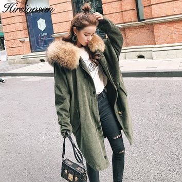 Winter Jacket Women Large Raccoon Fur Parka 2017 Corduroy Winter coat Lady Thick Warm Fake Lambswool Lining Coat