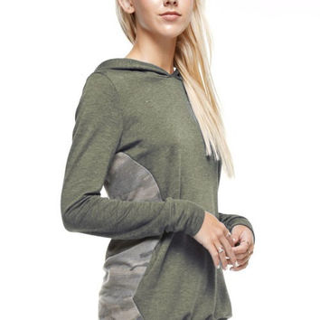 Camo Contrast Hoodie - Olive