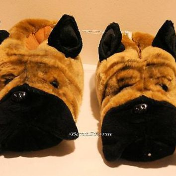 Licensed cool BIG REAL LIFE PUG CHINESE SHAR-PEI BULL MASTIFF DOG SLIPPERS ADULT M 9/10 NWT
