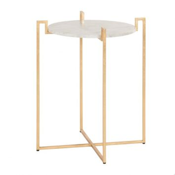 Worlds Away Abel Gold Leaf w/ Marble Top Side table