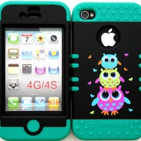 Bumper Case for Apple iphone 4 4G 4S Three Cute Owls hard plastic snap on over Teal Silicone Gel