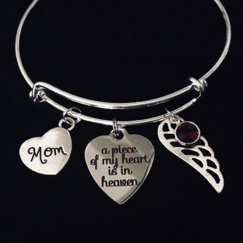 Mom Mother Memorial Jewelry A Piece of My Heart is in Heaven Expandable Charm Bracelet Adjustable Wire Silver Bangle One Size Fits All Gift