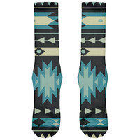 Native American Pattern Blue All Over Crew Socks