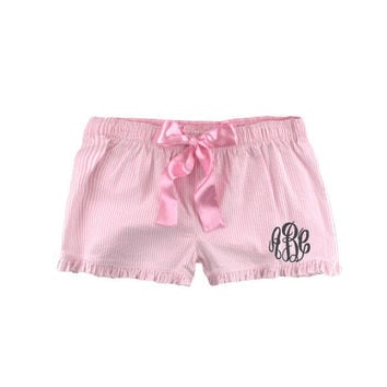 Monogrammed Seersucker Pajama Shorts- Great bridesmaids, bride, birthday, etc Several Colors to choose from