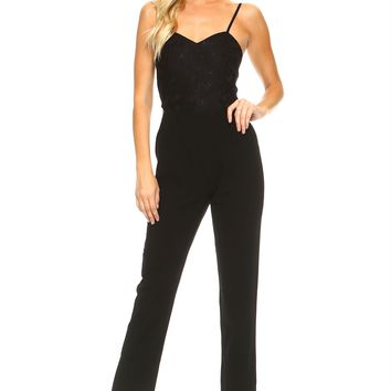Women's Fitted Jumpsuit with Lace Bodice Detail