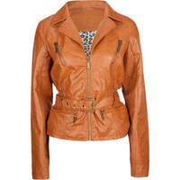 JOU JOU Belted Zip Sleeve Faux Leather Womens Jacket 197276406 | Jackets | Tillys.com