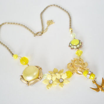 Mellow Yellow Fairytale Statement Necklace by RetroRevivalBoutique