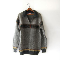 Vintage Oversized Sweater. Wool Zipper Pullover. Preppy Men's Sweater. Norwear sweater.