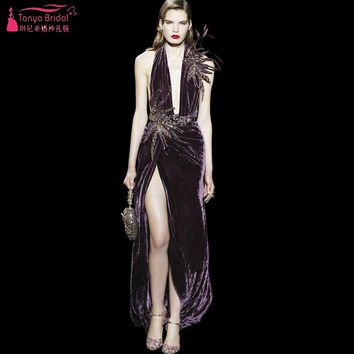 Sexy Halter Side Split Mermaid Prom Dresses Elegant Modern Eye-Catching 2017 Evening Party Dresses Formal Gowns    Z818