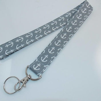 Anchor Lanyard Fabric Lanyard Teacher Lanyard Boat Lanyard Ocean Lanyard Nautical Lanyard Boat Anchor Fabric Lanyard Gray Lanyard Key Holder