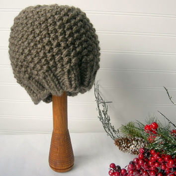 Hand Knit Slouch Chunky Hat Beautiful Beige by WindyCityKnits
