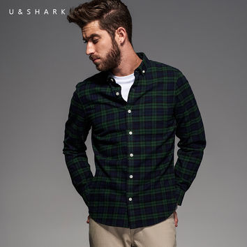 Style Long Sleeve Green Plaid Flannel Cotton Shirt Men Blouse Fashion Designer Casual Shirt Male Chemise