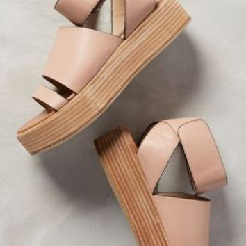Schuler & Sons Spliced-Strap Flatforms Pink