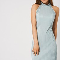 Grey Turtle Neck Pleat Dress