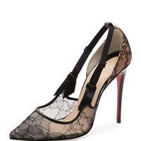 Christian Louboutin Hot Jeanbi Lace 100mm Red Sole Pump, Version Black