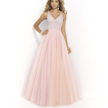 Blush Pink Prom Dresses 2016 Long Elegant Ball Gown Evening Dress V Neckline Beaded Sequins Tulle Party Gowns Backless