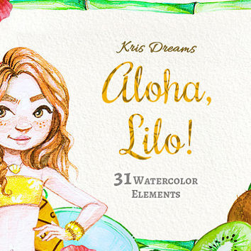 Hula Girl Hawaiian Summer Watercolor Handpainted Clipart Hibiscus Tropical Vacation Kiwi scrapbook planner Invitation DIY High Quality png