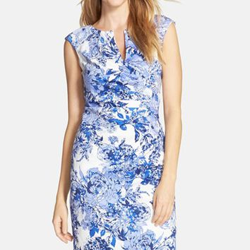 Women's Adrianna Papell Floral Print Cotton Side Pleated Sheath Dress,
