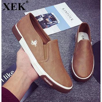 XEK Men's Vulcanized Shoes Spring Autumn Comfortable Casual Shoes Canvas Shoes For Men Brand Fashion Flat Loafers Shoe ZLL36