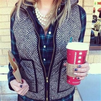 Real Photo Designer Inspired Cotton Textured Herringbone Quilted Puffer Vest Gold Zipper