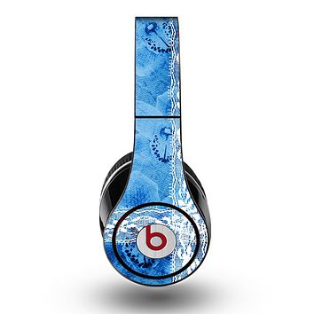 The Vibrant Blue & White Floral Lace Skin for the Original Beats by Dre Studio Headphones