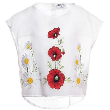 Monnalisa - Girls Muslin Top With Embroidered Poppies