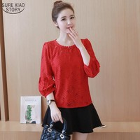 2017 New Fashion Women Blouses Lace Shirt Casual Style Ladies Shirt Long Sleeve Plus Size Blusas 870A 25