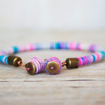 rope bracelet with handmade copper textile beads