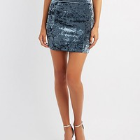Velvet Bodycon Mini Skirt