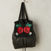Embroidered Flower Leather Backpack