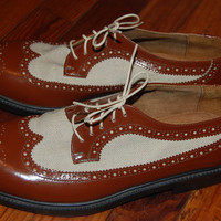 Vintage Clifford & Wills Two Tone Spectator Great Gatsby Menswear Brogues Wingtips Longwing Oxfords Shoes Womens 9.5 Medium // Mens Size 7.5