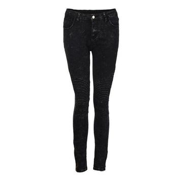 ESB1ON Fashion Women Jeans Flat Skinny Mid Waisted Elasticity Cool Zipper And Button Slim Fit Laies Pencil Pants #LSIW