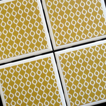 Gold Tile Coasters, Tile Coasters, Coaster, Coasters, Tile Coaster, White and Gold, Vintage Coasters, Ceramic Coasters, Coaster Set of 4