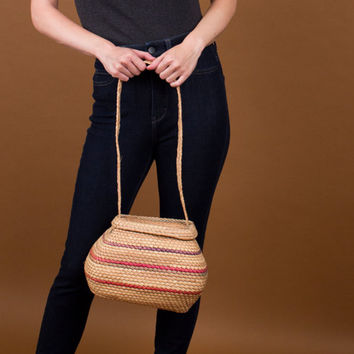 woven straw bucket bag / striped multi color ethnic market bag / straw purse shoulder bag / unique purse handbag