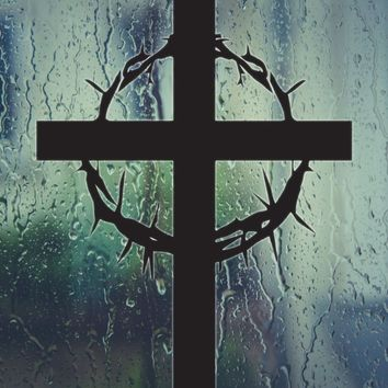 Bible Cross with Crown of Thorns Die Cut Vinyl Wall Decal - Permanent Sticker