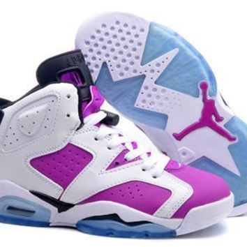 Hot Nike Air Jordan 6 Retro Women Shoes White Royal Blue