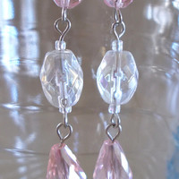 Pink & White Crystal Teardrop Dangle Earrings, Handmade, Fashion Jewelry, Feminine, Sophisticated, Original, Unique, Gift, Simple Elegance
